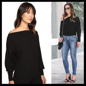 free people // valencia off the shoulder black top